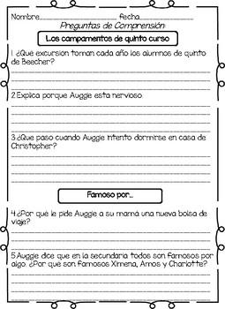Spanish Wonder Book Study-La leccion de August -octava parte
