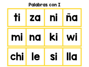 Spanish Word Building Mats - Palabras con I