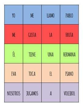 Spanish Word Order Practice - 204 words, 30 sentences