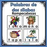 Spanish Word Puzzles. Rompecabezas de palabras de dos sílabas