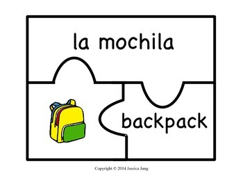 Spanish Word Puzzles for Kids! (Classroom Objects--Set 3)