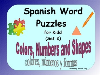 Spanish Word Puzzles for Kids! (Colors, Numbers and Shapes--Set 2)