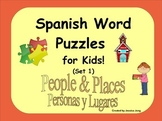 Spanish Word Puzzles for Kids! (People & Places--Set 1)