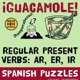 Spanish Word Puzzles for Regular Present Tense Verbs. Presente Verbos Regulares