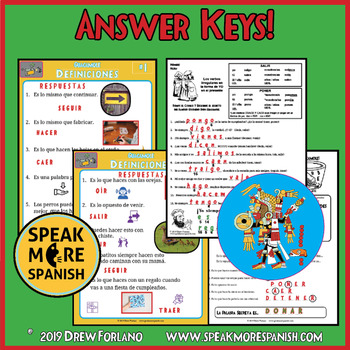 Spanish Word Puzzles for Irregular YO GO Verbs. Juego de Verbos