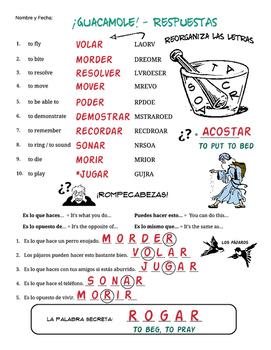 Spanish Puzzles * MORE Stem Changing Verbs O>UE *Más Verbos con cambios O>UE