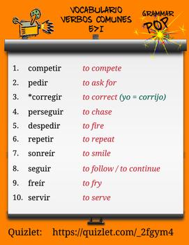 Spanish Verb Scramble for Stem Changing verbs E>I * Rompecabezas de Verbos
