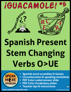 Spanish Word Scramble *Stem Changers O>UE *Verbos con camb