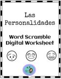 Spanish Word Scramble- Personality Descriptions