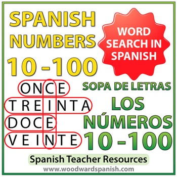 Spanish Word Search - Numbers 10-100