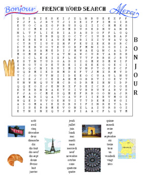 Spanish Word Search Puzzle PLUS French Word Search Puzzle (Both Items)