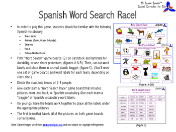 Spanish Word Search Race! (Vocabulary Game)