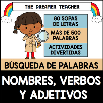 Bilingual Nouns, adjectives, and Verbs Word Searches