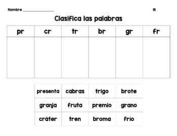 Spanish Word Sorts