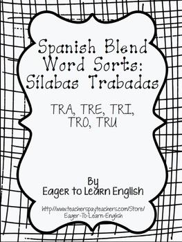 Spanish Word Sorts FREEBIE: TR Sílabas Trabadas (Blends)