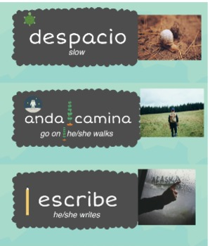 Spanish Word Wall w/Activities & Pictures