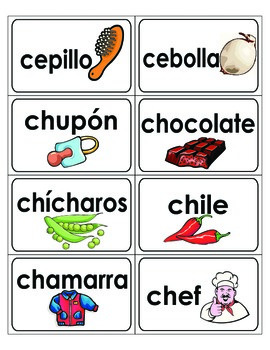 Spanish Word Wall A-Z word cards with cute pictures!