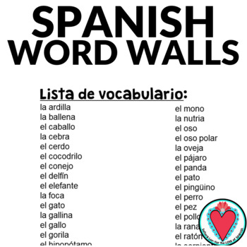 Spanish Word Wall | Animals - Los Animales
