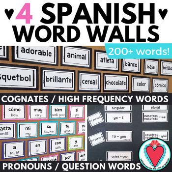 spanish word wall bundle spanish high frequency words spanish