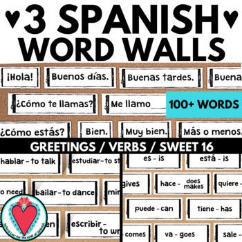 Spanish Word Wall Bundle 2 - Spanish Greetings & Verbs