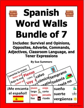 Spanish Word Wall Bundle of 7 Walls - 156 Pages, 284 Words and Phrases