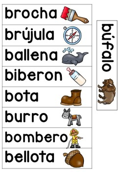 Spanish & English word wall cards (dual language/bilingual)