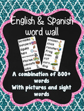 Spanish & English word wall cards (dual language/bilingual)