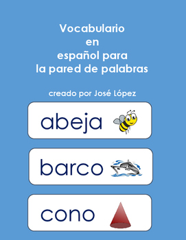 Spanish Word Wall Cards