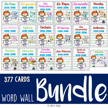 Spanish Word Wall Cards {GROWING BUNDLE} 377 Word Cards COMBINATED & WHITE