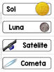 Spanish Word Wall Cards {El Sistema Solar - Cosmos} ESPAÑOL