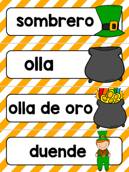 Spanish Word Wall Cards {San Patricio} ESPAÑOL