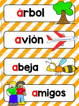 Spanish Word Wall Cards {Sonido Inicial Vocales} ESPAÑOL