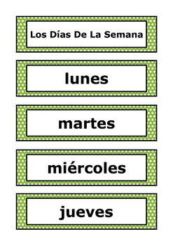 Spanish Word Wall - Days of the Week - 12 Designs to choose from!
