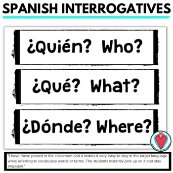 Spanish Word Wall: Spanish Interrogatives - Question Words