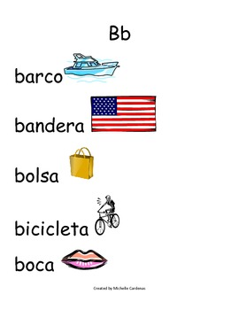 Spanish Word Wall- Letter Bb