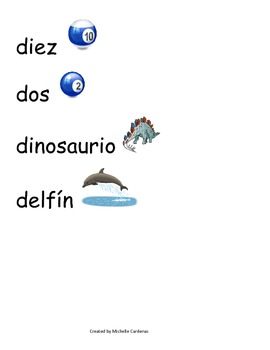 Spanish Word Wall - Letter Dd