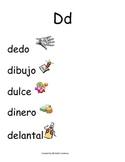 Spanish Word Wall - Letter Dd