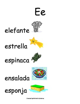 Spanish Word Wall - Letter Ee