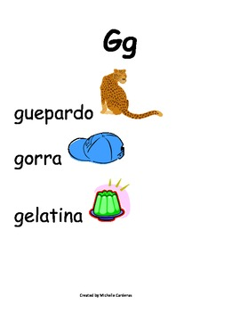 Spanish Word Wall- Letter Gg