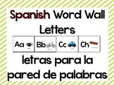 Spanish Word Wall Letters with Beginning Pictures