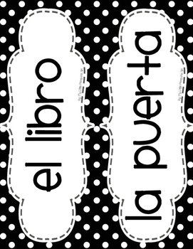 Spanish Word Wall Posters (Los objetos de la clase) B/W dots