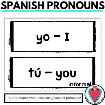 Spanish Pronouns Word Wall - Los Pronombres Sujetos