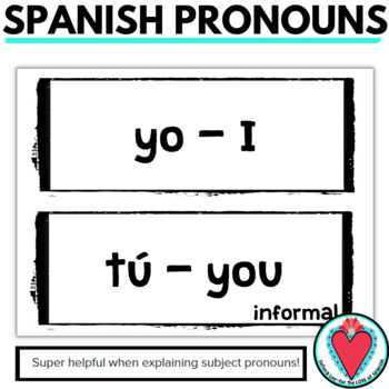 Spanish Pronouns Word Wall - Los Pronombres Sujetos