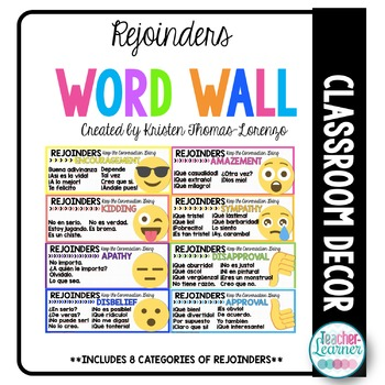 Spanish Word Wall: Rejoinders