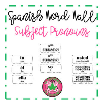Spanish Word Wall - Subject Pronouns