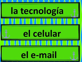 Spanish Word Wall - Technology