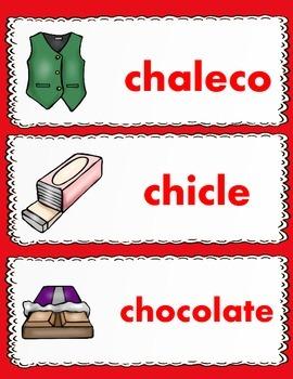 Dual Language Spanish Vocabulary Cards Set #2:  Gomez and Gomez Style