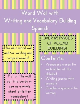 Spanish Word Wall, Writing, and Vocabulary Activities