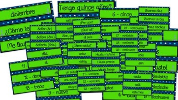 Spanish Word Wall for Greetings, Numbers, and Time