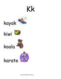 Spanish Word Wall- letter Kk
